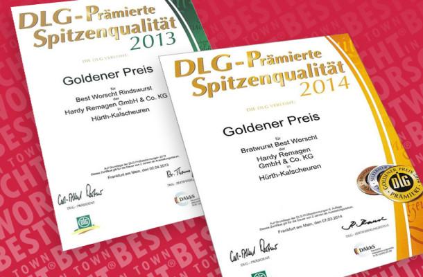 Goldener DLG-Preis 2014 für unsere Bratworscht